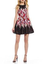 Teeze Me High Neck Sleeveless Floral Print Skater Dress