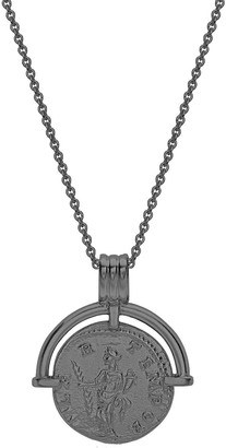 Missoma Mens Lucy Williams Black Rhodium Roman Arc Coin Necklace