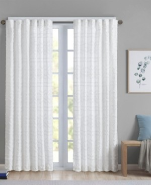 "Intelligent Design Annie Solid Clipped Jacquard Rod Pocket/Back Tabs Window Panel 50"" x 84"""