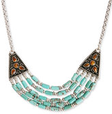 Lucky Brand Necklace, Silver-Tone Turquoise Beaded Collar Necklace