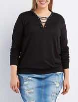 Charlotte Russe Plus Size Lace-Up V-Neck Sweatshirt