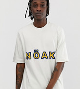 Noak oversized t-shirt with towelling logo and high neck