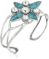 "Barse Hepburn"" Turquoise in Silver Plate with Clear Crystal Cuff Bracelet"