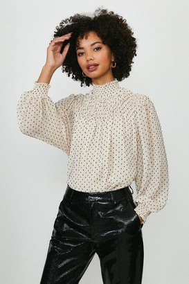 Coast Spotted Shirred High Neck Blouse