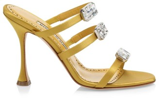 Manolo Blahnik Nudosa Jewelled Satin Mules