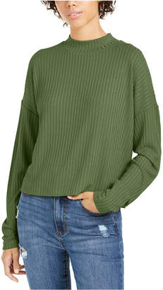 It's Our Time It Our Time Juniors' Mock Neck Rib-Knit Top