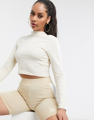 Puma classics long sleeve crop top in tapioca