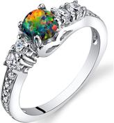 Ice 1/2 CT TW Opal and Cubic Zirconia Polished Sterling Silver Fashion Ring
