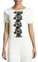 Sachin + Babi Short-Sleeve Scalloped Jersey Top, Ivory