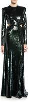 A.L.C. Gabriela Sequined Cutout Long-Sleeve Gown