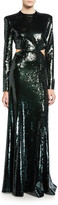 A.L.C. Gabriela Sequined Cutout Long-Sleeve Gown