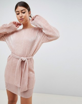 Club L London Club L allover sequin shift dress with belt detail in soft pink