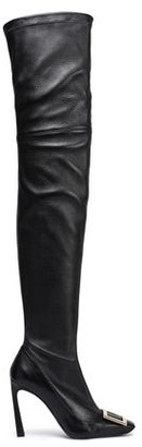 Roger Vivier Cuissard Buckle-embellished Leather Thigh Boots