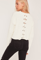 Missguided Cream Lace Up Back Boxy Sweater