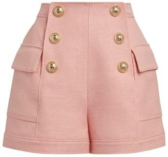 Balmain High-Rise Button Shorts