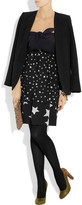 Sonia Rykiel Sonia by Printed jersey and silk crepe de chine dress