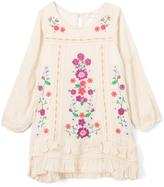 Baby Sara Ivory & Purple Floral-Accent Ruffle-Hem Dress