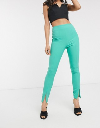 ASOS DESIGN pop slim split front trousers
