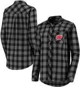 Buffalo David Bitton Unbranded Women's Charcoal/Black Wisconsin Badgers Plaid Flannel Button-Down Shirt