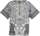 Lofbaz Traditional African Print Unisex Dashiki Size S White and Deep Pink