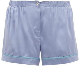 Araks Tia Piped Silk Pyjama Shorts - Blue