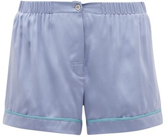 Araks Tia Piped Silk Pyjama Shorts - Womens - Blue