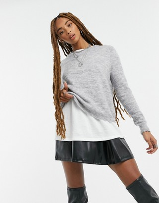 Object Nete classic crew neck sweater in gray