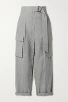 Thumbnail for your product : Brunello Cucinelli Belted Cropped Wool And Linen-blend Straight-leg Pants - Gray