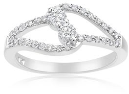 Summerrose Jewelry Summer Rose 14k White Gold 1/2ct TDW Diamond Forever 2-stone Ring