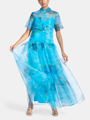 STAUD Riley Organza Maxi Shirt Dress