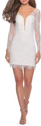 La Femme Long Sleeve Lace Cocktail Dress
