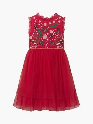 Boden Mini Girls' Festive Tulle Party Dress, Rockabilly Red