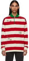 Gucci Red and White GG Stripe Polo