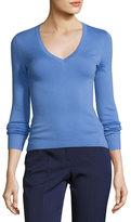 Michael Kors Knit Cashmere V-Neck Sweater, Blue