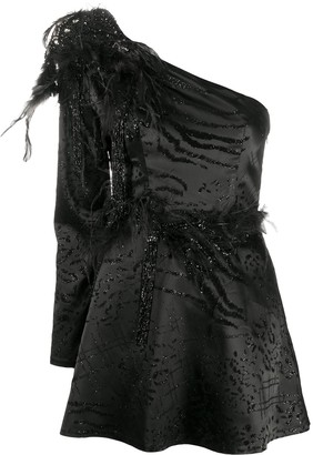 Loulou Feather Embellished Dress