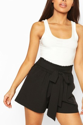boohoo Petite Shirred Tie Front Shorts