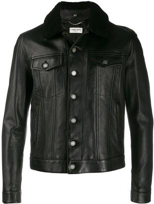 Saint Laurent shearling collar buttoned jacket