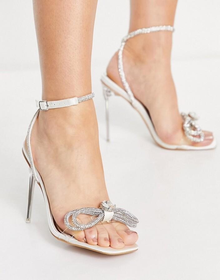 Be Mine Bridal Kyrah clear heeled sandal with diamante bow detail