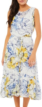 Gabby Skye Women's Sleeveless Floral Clip Dot Dress
