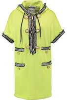 Moschino Button-Embellished Embroidered Jersey Hooded Mini Dress