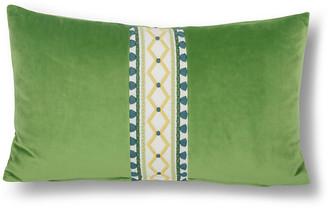 One Kings Lane Paloma 12x20 Lumbar Pillow - Lime Velvet