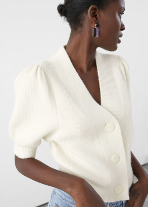 And other stories Puff Sleeve Wool Blend Cardigan