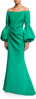 Jovani Off-the-Shoulder Balloon-Sleeve Mermaid Scuba Gown