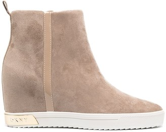 DKNY Suede Wedge Boots