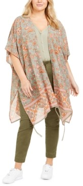 Planet Gold Trendy Plus Size Border-Print Kimono