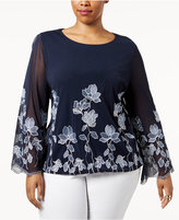 Alfani Plus Size Embroidered Blouson Top, Created for Macy's