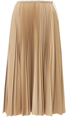Fendi High-rise Pleated Satin Midi Skirt - Womens - Beige