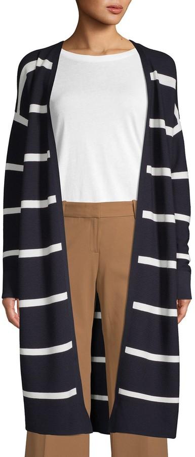 Lafayette 148 New York Striped Knit Cardigan