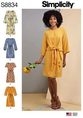 Simplicity Women's Waist Tie Dress, 8834