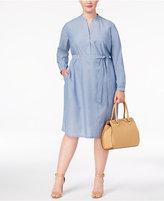 Anne Klein Plus Size Cotton Chambray Shirtdress
